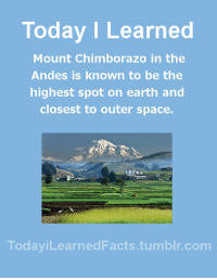 Facts, Tumblr, and Blog: Today I Learned  Mount Chimborazo in the  Andes is known to be the  highest spot on earth and  closest to outer space.  TodaviLearned Facts.tumblr.com todayilearnedfacts:  Follow TodayiLearnedFacts for more Daily Facts! Source