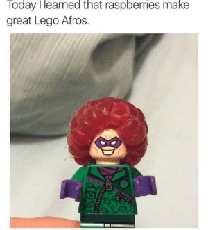 Lego, Today, and Afros: Today I learned that raspberries make  great Lego Afros