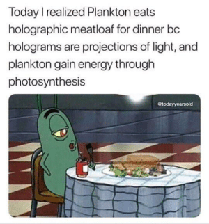 Dank, Energy, and Memes: Today I realized Plankton eats  holographic meatloaf for dinner bc  holograms are projections of light, and  plankton gain energy through  photosynthesis  todayyearsold it all makes sense by TheHuntingMaster MORE MEMES