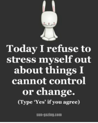 "Memes, Control, and Today: Today I refuse to  stress myself out  about things I  cannot control  or change.  ype ""Yes"" if you agree)  Sun-gazing.com Monday mantra 🙌🏽 sungazing"