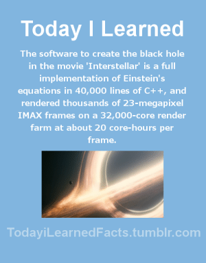 Facts, Imax, and Interstellar: Today ILearned  The software to create the black hole  in the movie 'Interstellar' is a full  implementation of Einstein's  equations in 40,000 lines of C++, and  rendered thousands of 23-megapixel  IMAX frames on a 32,000-core render  farm at about 20 core-hours per  frame.  TodayiLearnedFacts.tumblr.com todayilearnedfacts: Follow TodayiLearnedFacts for more Daily Facts! Source
