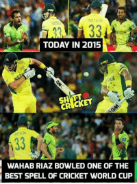 cricket world cup: TODAY IN 2015  CRICKET  WAHAB RIAZ BOWLED ONE OF THE  BEST SPELL OF CRICKET WORLD CUP