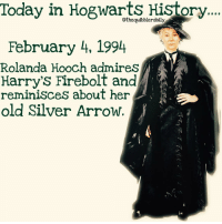 Memes, Slytherin, and 🤖: Today in Hogwarts History...  e  othequibblerdaily  February 4, 1994  Rolanda Hooch admires  Harry's Firebolt and  reminisces about her  old Silver Arrow. What's your favorite color? . . . . . . . . __________________________________________________ __________________________________________________ hogwartsishome harrypotter potter potterhead wizardingworld wizardingworldofharrypotter gryffindor hufflepuff slytherin ravenclaw hogwarts hogwartsismyhome hermione sharethemagic hermionegranger ronweasley lordvoldemort voldemort harrypotterfacts hpfacts snape dracomalfoy nevillelongbottom hp jkrowling fandom emmawatson fantasticbeasts fbawtft