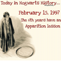 Emoji, Gryffindor, and Hermione: Today in Hogwarts History...  February 15, 1997  The 6th years have an  Apparition lesson Comment your 10th most used emoji. . 😆 . . . . . . __________________________________________________ __________________________________________________ hogwartsishome harrypotter potter potterhead wizardingworld wizardingworldofharrypotter gryffindor hufflepuff slytherin ravenclaw hogwarts hogwartsismyhome hermione sharethemagic hermionegranger ronweasley lordvoldemort voldemort harrypotterfacts hpfacts snape dracomalfoy nevillelongbottom hp jkrowling fandom emmawatson fantasticbeasts fbawtft