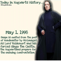 Facts, Gryffindor, and Hermione: Today in Hogwarts History...  Gthequibblerdaily  May 1, 1998  Snape is ousted from the post  of Headmaster by McGonagall.  As Lord Voldemort and his  forces Siege the Castle,  the Hogwartians prepare for  the ensuing confrontation Favorite professor at Hogwarts? . . . . . . . . . __________________________________________________ __________________________________________________ harrypotter potterhead wizardingworld wizardingworldofharrypotter gryffindor hufflepuff slytherin ravenclaw hogwarts hogwartsismyhome bookstagram likeforlike hermione sharethemagic hermione bookworm ronweasley voldemort harrypotterfacts hpfacts snape dracomalfoy fangirl hp facts fandom emmawatson fantasticbeasts fbawtft