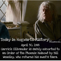 Facts, Gryffindor, and Hermione: Today in Hogwarts History...  othequibblerdaily  April 30, 1998  Garrick Ollivander is safely escorted to  an Order of the Phoenix hideout by Bill  Weasley, who returns his aunts tiara. Favorite wand in the series? . . . . . . . . . __________________________________________________ __________________________________________________ harrypotter potterhead wizardingworld wizardingworldofharrypotter gryffindor hufflepuff slytherin ravenclaw hogwarts hogwartsismyhome bookstagram likeforlike hermione sharethemagic hermione bookworm ronweasley voldemort harrypotterfacts hpfacts snape dracomalfoy fangirl hp facts fandom emmawatson fantasticbeasts fbawtft