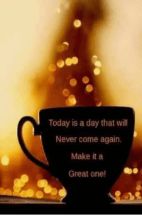 Today is a day that will  Never come again.  Make it a  Great one! Good morning!   Have a great day!   ~Kanna