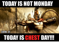Memes, 300, and Chest Day: TODAY IS NOT MONDAY  @SYN 27  TODAY IS CHEST  DAY!!! Repost @syn_27 ・・・ Go get it 💪😎 mood monday mondaychestday chestdayeveryday gymmotivation 300 gymmemes benchpress pecs flys monsterchest installingmuscles bodysculpting