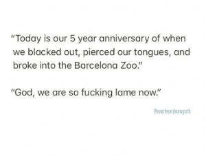 """Barcelona, Fucking, and God: """"Today is our 5 year anniversary of when  blacked out, pierced our tongues, and  broke into the Barcelona Zoo.""""  """"God, we are so fucking lame now.""""  Coverheardnewyork"""