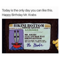 Birthday, Mr. Krabs, and Bikini Bottom: Today is the only day you can like this.  Happy Birthday Mr. Krabs  BIKINI I  EXPIRES: 11.3002  CLASS  A5265661  MR. KRABS  3541 ANCHOR WAY  BIKINI BOTTOM  T: 0-07 WTi 5 DOB: 11-30-42 meirl