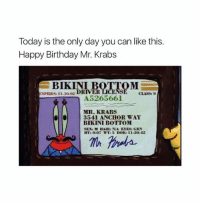 Happy Birthday Mr. Krabs!: Today is the only day you can like this.  Happy Birthday Mr. Krabs  BIKINI B  EXPIRES 11.30.02  DRIVER  CLASS:  5  A5265661  MR. KRABS  3541 ANCHOR WAY  BIKINI BOTTOM  SEN M HAIR: NIA EYESt GRN  HT: 0.07 WT: 5 DOB: 11-30-42 Happy Birthday Mr. Krabs!