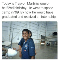 If you are sad about the horrible murder of trayvonmartin then pay your respects. Respect and rest in peace Young king... 💔: Today is Trayvon Martin's would-  be 22nd birthday. He went to space  camp in '09. By now, he would have  graduated and received an internship.  08/11/2009 If you are sad about the horrible murder of trayvonmartin then pay your respects. Respect and rest in peace Young king... 💔