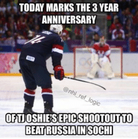 America, Family, and Hockey: TODAY MARKS THE 3YEAR  ANNIVERSARY  nhi  ref  9ic  OFIJOSHIEISEPICSHOOTOUTITO  BEATRUSSIAIN SOCHI Who else got up super early to watch the game? Even my family who doesn't like hockey went nuts. Oshie so clutch 🇺🇸🇺🇸🇺🇸 nhl hockey america usahockey sochi tjoshie