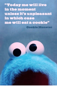 """Cookie Monster, Monster, and Live: Today me will live  in the moment  unless it's unpleasant  in which case  me will eat a cookie""""  Cookie Monster"""
