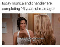 monica and chandler: today monica and chandler are  completing 16 years of marriage  hen are you getting married?  May 15th