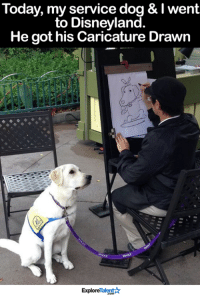 This makes my heart so happy <3: Today, my service dog & I went  to Disneyland.  He got his Caricature Drawn  Talent  Explore This makes my heart so happy <3