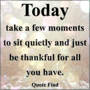 Memes, Today, and 🤖: Today  take a few moments  to sit quietly and just  be thankful for all  vou have.  Quote Find Quote Find <3