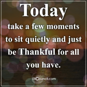 Memes, Business, and Today: Today  take a few moments  to sit quietly and just  be Thankful for all  you have.  EBCouncil.com Positive Words from Evolutionary Business Council ❤️