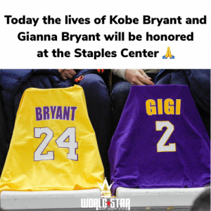 Today the lives of #KobeBryant and #GiannaBryant will be honored at the #StaplesCenter following their tragic passing along with 7 others in a helicopter accident that occurred on January 26th. Our thoughts and prayers go out to the victims and their families. 🙏❤️ https://t.co/zKLDgDXFX0: Today the lives of #KobeBryant and #GiannaBryant will be honored at the #StaplesCenter following their tragic passing along with 7 others in a helicopter accident that occurred on January 26th. Our thoughts and prayers go out to the victims and their families. 🙏❤️ https://t.co/zKLDgDXFX0