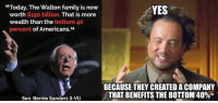 """(GC) Waltons have done more for the lower class than Bernie could ever dream.: """"Today, The Walton family is now  YES  worth $150 billion. That is more  wealth than the bottom 40  percent of Americans.""""  BECAUSE THEY CREATED ACOMPANY  THAT BENEFITS THE BOTTOM 40%M  Sen. Bernie Sanders (I-Vt) (GC) Waltons have done more for the lower class than Bernie could ever dream."""