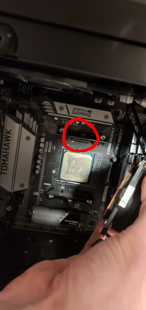 Today this retention clip broke and my cpu and watercooling pump lifted in 45°, any idea how to fix it without replacement parts? I feel like the quarantine will be long...: Today this retention clip broke and my cpu and watercooling pump lifted in 45°, any idea how to fix it without replacement parts? I feel like the quarantine will be long...