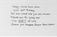 Frances Bean Cobain letter to her father 👏 @space_witch666: Today would have been  50th Birthday  You are Loved and you are missed  Than you for giving me  The GIFT of Life  Forever your Daughter Frances Bean Cobain Frances Bean Cobain letter to her father 👏 @space_witch666