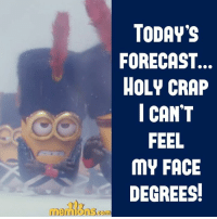 ⛄❄: TODAY'S  FORECAST.  HOLY CRAP  I CANT  FEEL  MY FACE  DEGREES! ⛄❄