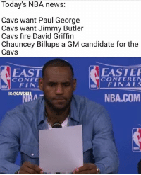Cavs, Easter, and Finals: Today's NBA news:  Cavs want Paul George  Cavs want Jimmy Butler  Cavs fire David Griffin  Chauncey Billups a GM candidate for the  Cavs  EASTER  EAST  CONFER EN  CONFE.  NEM FINALS  FIN  IG:@CAVS  NBA.COM This was yesterday's news but still, Lebron's face says it all😂 Comment the craziest rumor you've heard so far this summer👇 (via @cavshub)