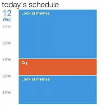 "<p>Daily schedule&hellip; via /r/memes <a href=""http://ift.tt/2iwtsQR"">http://ift.tt/2iwtsQR</a></p>: today's schedule  12  Look at memes  Wed  2 PM  3 PM  4 PM  Cry  5 PM  Look at memes  6 PM <p>Daily schedule&hellip; via /r/memes <a href=""http://ift.tt/2iwtsQR"">http://ift.tt/2iwtsQR</a></p>"