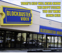 Blockbuster, Growing Up, and Memes: TODAYSKIISWILLNEVERKNOW  THE HAPPY FEELING  BLOCKBUSTER  GOING HERE  VIDEO  BLOCKBUSTER VIDEO It was 31 years ago today when the first Blockbuster store opened, in 1985. What was your go-to video store when you were growing up?