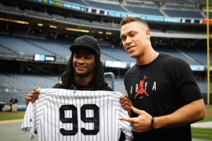 Aaron Judge of the New York Yankees sporting the perfect shirt.: Todd Aaron Judge of the New York Yankees sporting the perfect shirt.