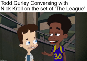 Nfl, Nick, and The League: Todd Gurley Conversing with  Nick Kroll on the set of 'The League  30 A Crossover Episode