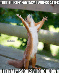 About time!: TODD GURLEY FANTASY OWNERS AFTER  @NFL MEMEZ  HE FINALLY SCORES A TOUCHDOWN About time!