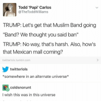 Ironic, Muslim, and Tumblr: Todd 'Papi' Carlos  @The Todd Williams  TRUMP: Let's get that Muslim Band going  Band? We thought you said ban  TRUMP: No way, that's harsh. Also, how's  that Mexican mall coming?  twitter lols.tumblr.com  twitter lols  *somewhere in an alternate universe  Coldsnorunt  I wish this was in this universe