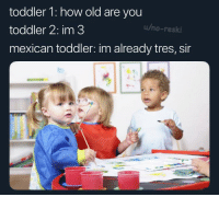 toddler 1: how old are you  toddler 2: im 3  u/no-reski  mexican toddler: im already tres, sir