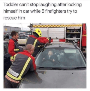 He knows what he's done.: Toddler can't stop laughing after locking  himself in car while 5 firefighters try to  rescue him He knows what he's done.