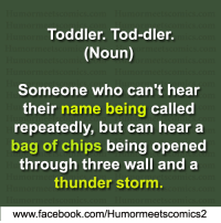 Facebook, Memes, and facebook.com: Toddler. Tod-dler.  (Noun)  Someone who can't hear  their  name being called  repeatedly, but can hear a  bag of chips being opened  through three wall and a  thunder storm.  www.facebook.com/Humormeetscomics2