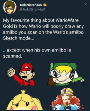 Wario, How, and Gold: TodoNintendoS  @TodoNintendoS  My favourite thing about WarioWare  Gold is how Wario will poorly draw any  amiibo you scan on the Wario's amiibo  Sketch mode...  ...except when his own amiibo is  scanned. Wario so Wario