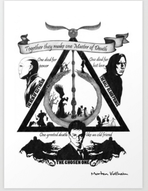 It's not a meme but it is cool!!: Together they make ome Master of Death  One died for  lost love  One died for  power  ike an old friend  One greeted death  THE CHOSEN ONE  Morten Vollheim  THE HALF-BLOOD PRINCE  THE HEIR OF SLYTHERIN It's not a meme but it is cool!!