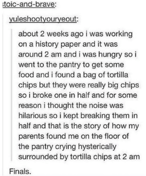 hmmm: toic-and-brave:  yuleshootyouryeout:  about 2 weeks ago i was working  on a history paper and it was  around 2 am and i was hungry so i  went to the pantry to get some  food and i found a bag of tortilla  chips but they were really big chips  so i broke one in half and for some  reason i thought the noise was  hilarious so i kept breaking them in  half and that is the story of how my  parents found me on the floor of  the pantry crying hysterically  surrounded by tortilla chips at 2 am  Finals hmmm