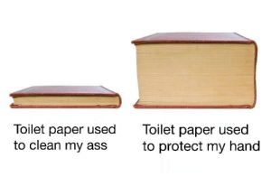 Ass, Paper, and Toilet Paper: Toilet paper used  to clean my ass  Toilet paper used  to protect my hand Don't lie