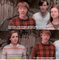 Candy, Hungry, and Memes: Told them l was hungry, wanted some sweets. Cours  they told me to bugger off and ate the lot themselves.  POTTERSCENES  ha  at was clever, Ron.  It's been known to happen. [ OrderOfThePhoenix – 2007] — Q: What's your favourite sweet-lolly-candy?