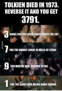 Elven: TOLKIEN DIED IN 1973  REVERSE ITANDYOU GET  3791  RINGSFOR THE ELVEN-KINGS UNDER THESKY  FOR THEDWARF-LORDS IN HALLS OF STONE  FOR MORTAL MEN,DOOMED TO DIE  FOR THE DARK LORD ON HIS DARK THRONE