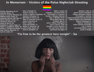 "tolstoyevskywrites:  In loving memory of the victims of the Pulse Nightclub Shooting on June 12, 2016. Please stand with the gay community against hatred and violence. Help make this a loving, compassionate world. 🏳️‍🌈♡Sia wrote ""The Greatest"" in honor of the victims. When you listen to her song, please remember them.: tolstoyevskywrites:  In loving memory of the victims of the Pulse Nightclub Shooting on June 12, 2016. Please stand with the gay community against hatred and violence. Help make this a loving, compassionate world. 🏳️‍🌈♡Sia wrote ""The Greatest"" in honor of the victims. When you listen to her song, please remember them."