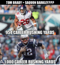 Giants fans triggered https://t.co/O4lT9LsXP7: TOM BRADY> SAQUON BARKLEY?p  954 CAREER RUSHING YARDS  @patriots empire  2  、1000 CAREER RUSHING YARDS Giants fans triggered https://t.co/O4lT9LsXP7