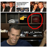 We Now Know Who's About To Win The Super Bowl: Tom Brady, Bill Belichick  address their Trump  support after win  CBS/AP  Nov 9, 2016 3:40 PM EST  (ai of  horus We Now Know Who's About To Win The Super Bowl
