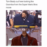 Memes, Nfl, and Super Mario: Tom Brady out here looking like  Goomba from the Super Mario Bros  movie  ONFL  @NFL MEMES  NE 10 1ST 2.41  ST61 Last like wins 😂😂