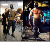 Bane: Tom Hardy when he was castas Bane  BEFORE  EAR  AFTER  THE DARK KNIGHT RISES