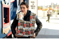 Tom Holland personally delivering the first of a $1 million toy donation from Funko to sick kids at LAC & USC Medical Centre today in Los Angeles.  (Andrew Gifford): Tom Holland personally delivering the first of a $1 million toy donation from Funko to sick kids at LAC & USC Medical Centre today in Los Angeles.  (Andrew Gifford)