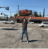 Billboard, Instagram, and Memes: Tom Holland poses with an AVENGERS: INFINITY WAR billboard!  Follow us on Instagram... https://www.instagram.com/mcuoninsta/  (Andrew Gifford)
